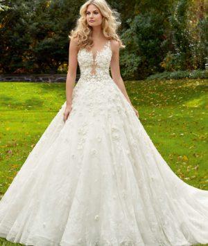 Vestido de Novia en Encaje Floral Tidimencional Línea A Escote y Espalda en V con hermosas cuentas 1