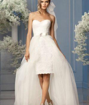 Vestido Corto Strapless con pedrería y Falda extraíble 1
