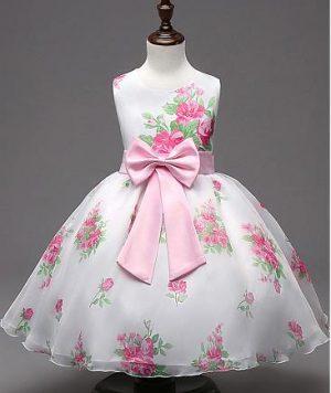 Vestido Pajecitas en Satín Floreado cun un lindo moño 1