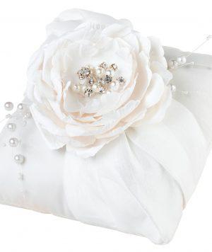 Cojín para Argollas Gran Flor Hecha a Mano y Perlas 1