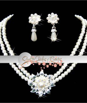Collar Flor Grande y Perlas 1
