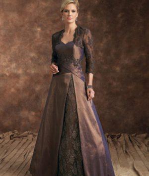 Vestido Madre de la Novia En Tafetán y Ligera Pedrería 1