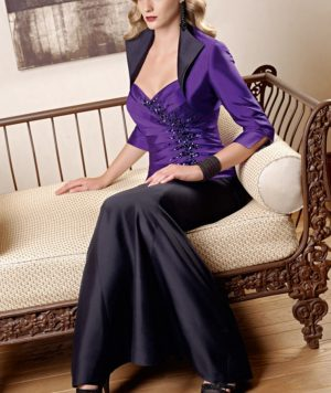 Vestido Madre de la Novia Espectacular Corpiño Plisado con Pedrería y Chaqueta con Hermoso Diseño 1