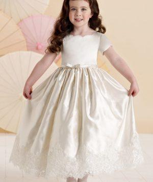 Vestido Pajecitas con Apliques de Encaje en Satín y al Tobillo 1