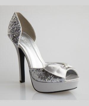 ***Oferta-Zapatos de Novia o Coctel en Satín y Lentejuelas Plateadas 1