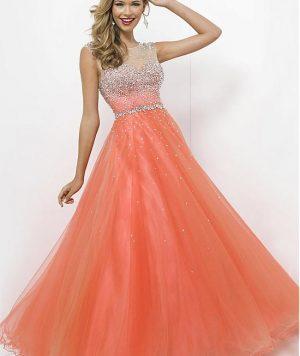 Vestido Coctél Largo, Tull, Brillantes-Más Colores 1