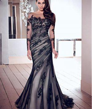 Vestido Coctél Largo, Tull con Aplicaciones -Más Colores 1