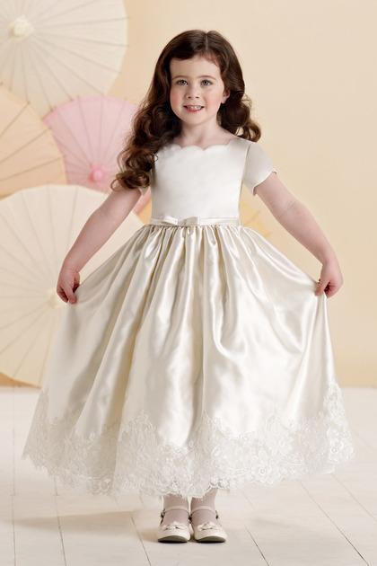 Vestido Pajecitas Con Apliques De Encaje En Satín Y Al Tobillo