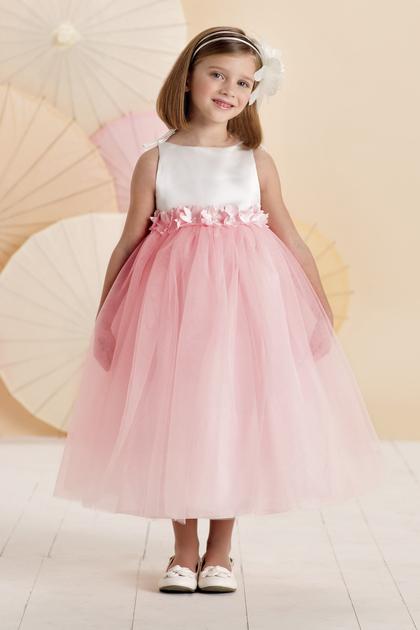 Vestido Pajecitas En Satin Y Tul Con Flores Al Tobillo